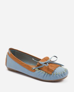 Zoom Light Blue & Camel Leather Moccasins with Decorative Bow logo