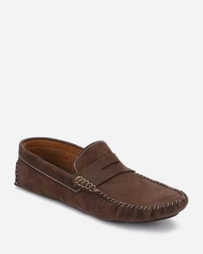 Top Suede Stitched Loafers - Brown logo