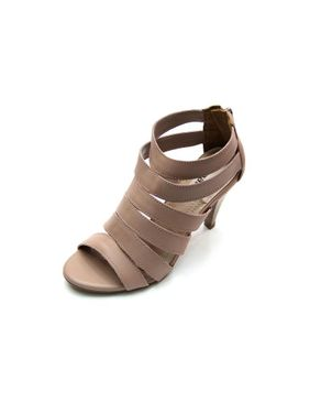 Viamarte Ladies/Women Genuine Leather Multi-strap Heeled Sandals-9824-Taupe logo