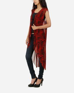 Be Positive Mesh Sleeveless Cardigan - Red & Black logo