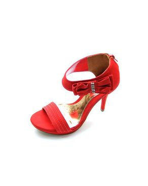 Viamarte Ladies/Women Genuine Leather Heeled Sandals with Side Decorative & Strass-9852-Red logo