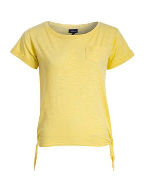 Wave Pastel Yellow Cotton T-Shirt with Side Knots logo