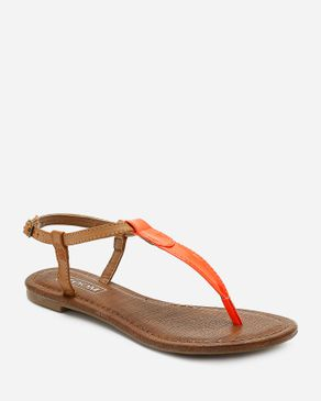 Zoom Camel & Neon Orange Leather Thong Sandal logo