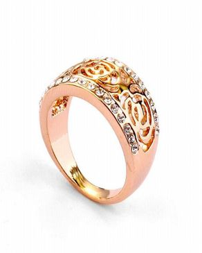 Dinardo 18K Rose Gold Plated Swarovski Ring logo