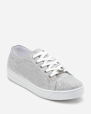 Wickers Glittery Sneakers - Sliver logo