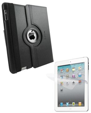 Ztoss CEO 360-II 360 Degree Rotation Folio Case for New iPad SSS291 Black + i-Crytal Screen Guard Protector SGP209 logo