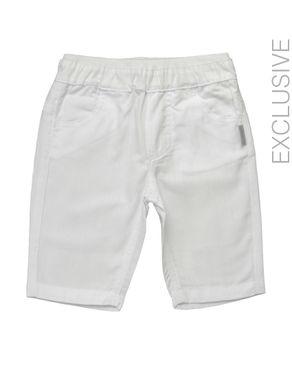 Stummer White Cotton Self-Striped Pants logo