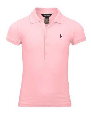 Ralph Lauren Kids Baby Pink Cotton Cap Sleeves Dipped Hem Polo T-Shirt logo
