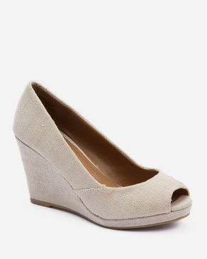 Zoom Natural Textile Peep Toe Wedges logo