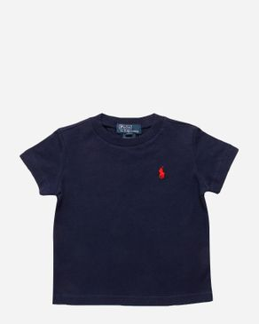 Ralph Lauren Kids Navy Cotton Crew Neck T-shirt with Red Pony Player Logo logo
