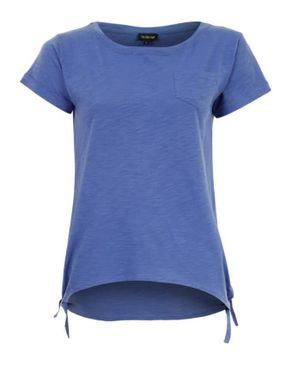 Wave Purplish Blue Cotton T-Shirt with Side Knots logo