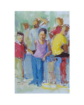 Easel and Camera 002ASMA Painting - 35 × 25 cm - Without Frame