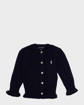 Ralph Lauren Girls Navy Cotton Cardigan with Pony Player Logo logo
