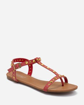 Zoom Red Leather T-Strap Sandals logo