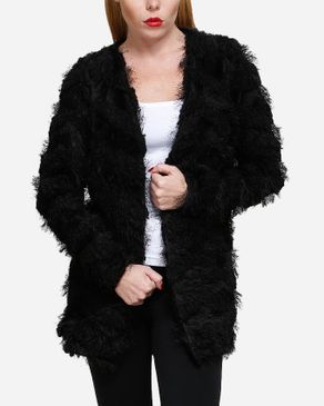 VERO MODA Furry-Like Cardigan - Black logo