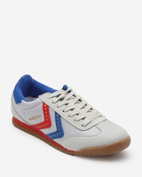 Wickers American Star Sneakers - Light Grey, Blue & Red logo