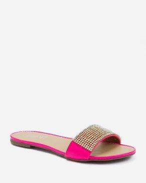 Zoom Neon Fuchsia Slip On Sandal with Decorative Strass logo