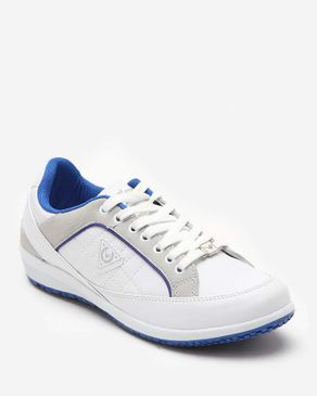 Wickers Side Quilted Walking Shoes - White & Blue logo