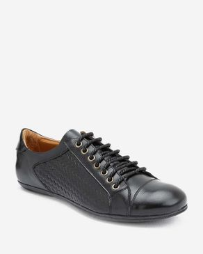 Top Braided Sides Flat Shoes - Black logo