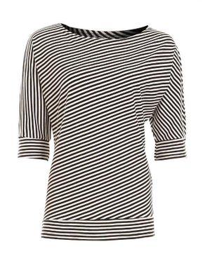 Z Apparel Black & White Viscose/Lycra 3/4 Sleeve Diagonal Striped Blouse logo