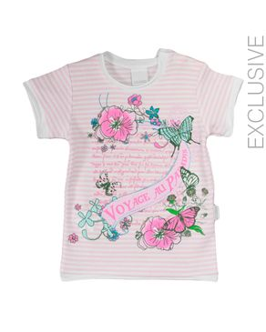Stummer White & Pink Cotton Striped Top with Flowers Print logo