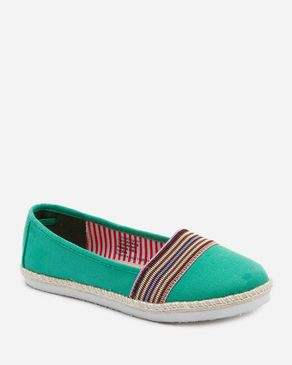 Zoom Green Textile Loafers with Upper Decorative Colorful Stripes logo