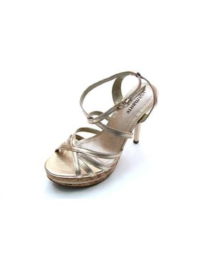 Viamarte Ladies/Women Genuine Leather Platform Heeled Sandals-9828-Silver logo