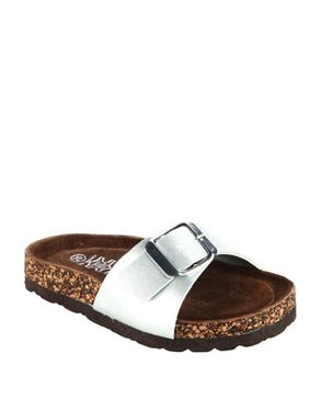 TOPWAY Kids Silver Leather Slip On Sandals with Front Buckle logo