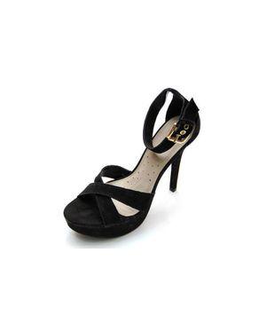 Viamarte Ladies/Women Suede Genuine Leather Heeled Sandals-9734-Black logo