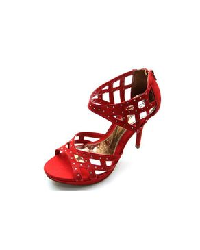 Viamarte Ladies/Women Genuine Leather Cut Out Heeled Sandals with Decorative Strass-9857-Red logo