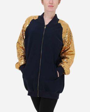 E-Nash Sequined Sleeves Sweatshirt - Navy & Gold logo