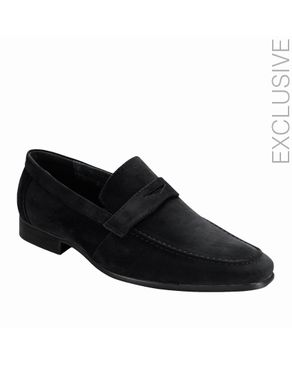 ZY Black Suede Effect Penny Loafer logo