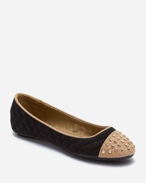 Zoom Black & Nude Leather Ballerinas with Studded Toe cap logo