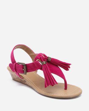 Zoom Fuchsia Suede Wedge Sandal with Upper Tassels logo