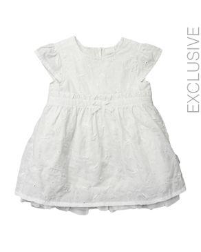 Stummer White Cotton Cap Sleeves Self-Patterned Dress logo