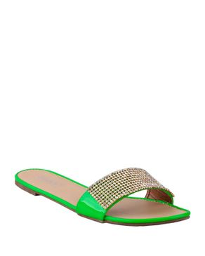 Zoom Neon Green Slip on Sandal with Decorative Strass logo