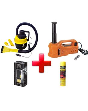 Electric Hydraulic Jack + Vacuum Cleaner 12V + Spray Silicon Cleaner Car + Areon Car Air Fresheners