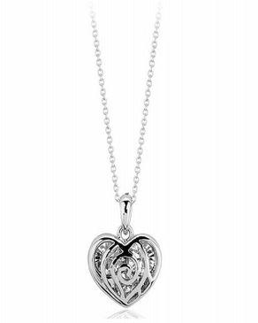 Dinardo Silver 18K Gold Plated Swarovski Necklace with Heart Pendant logo