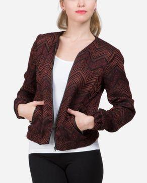 VERO MODA Chevron Front Zipper Jacket - Black & Brick Red logo