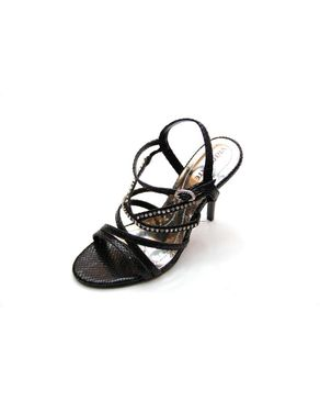 Viamarte Ladies/Women Genuine Leather Multistrap Heeled Sandals with Decorative Strass-9801-Black logo