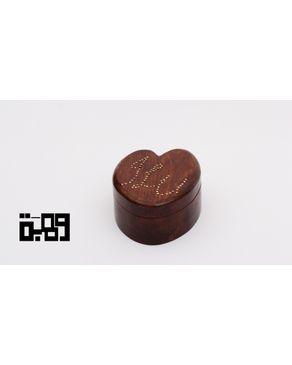 Wahba Handmade Heart Shaped Gift Box - Dark Varnished Pine Wood