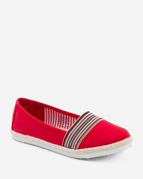 Zoom Red Textile Loafers with Upper Decorative Colorful Stripes logo