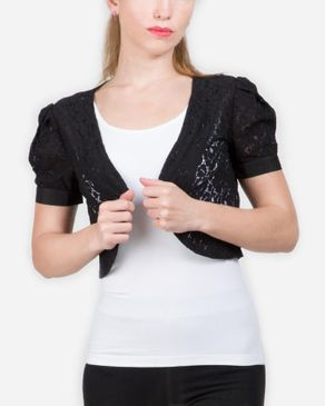 VERO MODA Lace Slip On Bolero - Black logo