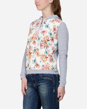 Wave Multicolor Floral Hoodie - Heather Grey logo