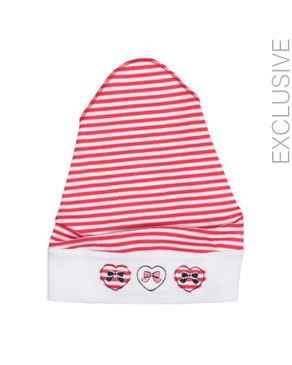 Stummer Red Cotton Striped Hat with Three Cute Bows logo