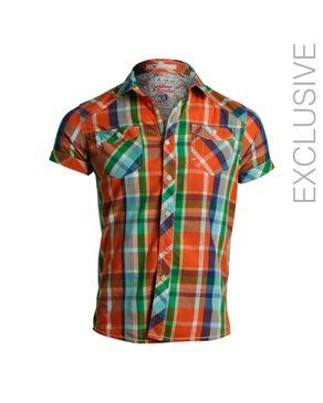 Y CHROMOSOME Orange Cotton Plaided Short Sleeves Shirt logo