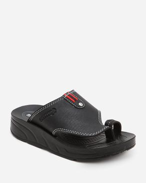 Aerosoft Kids Black Leather Thong Ring Slippers logo