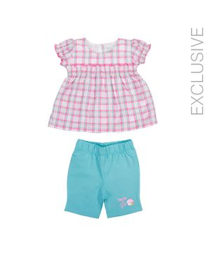 Stummer Pink Checkered Cotton Top with Blue Shorts logo