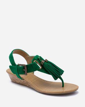 Zoom Green Suede Wedge Sandals with Upper Tassels logo