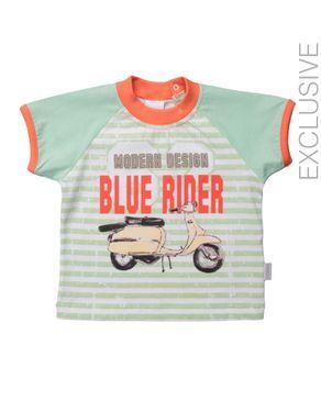 Stummer Lime Green & Orange Cotton Striped T-Shirt logo